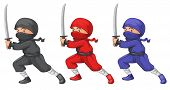 Illustration of the three ninjas on a white background