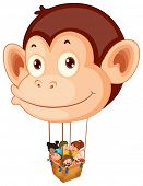 Illustration of a big monkey balloon with a basket full of kids on a white background