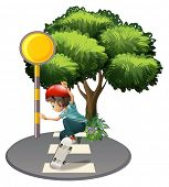 image of post-teen  - Illustration of a boy skateboarding near the tree on a white background - JPG