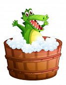 Illustration of a crocodile taking a bath on a white background