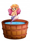 Illustration of a smiling mermaid in the barrel on a white background