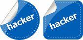 Hacker Stickers Set On White, Icon Button Isolated On White