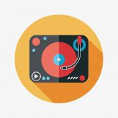 Dj Music Flat Icon With Long Shadow,eps10