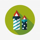 Candle Flat Icon With Long Shadow,eps10