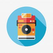 Camera Flat Icon With Long Shadow,eps10