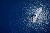 stock photo of yacht  - Amazing view to Yacht sailing in open sea at windy day - JPG