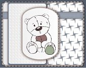 Greeting Card With Teddy Bear Toy Sketch