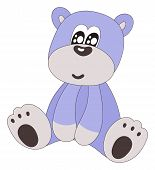 Cute Blue Sitting Bear-isolated