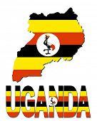 Uganda map flag and text illustration