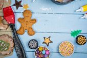 Decorating Of Gingerbread Man Christmas Cookie