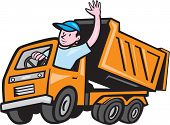 Dump Truck Driver Waving Cartoon