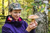Girl Collect Cep Boletus On Forest