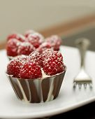 two raspberry tarts with chocolate