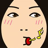 cartoon face expression whistle