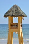 A lifeguard watchtower