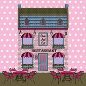 Vector Restaurant Facade. Background. Retro Style Illustration