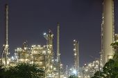 Oil Refinery Industry Night Scene