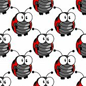 picture of googly-eyes  - Ladybug seamless background pattern with a cute little red and black spotted ladybird standing upright with big googly eyes - JPG