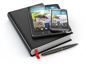 Notebook, tablet pc and mobile phone. 3d