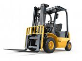 image of lift truck  - Forklift truck on white isolated background - JPG