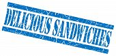 Delicious Sandwiches Blue Square Grunge Textured Isolated Stamp