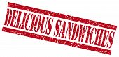 Delicious Sandwiches Red Square Grunge Textured Isolated Stamp