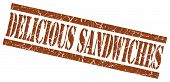 Delicious Sandwiches Brown Square Grunge Textured Isolated Stamp