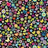 Seamless Pattern Of Flowers, Circles, Hearts, Butteflies And Peace Signs