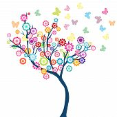 Tree With Flowers And Butterflies