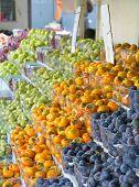 Israel Market Produce: Plum, Persimmon, Pear