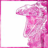 watercolor animal background in pink color