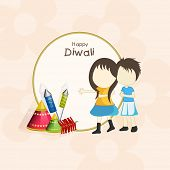 Little cute kids and crackers with stylish text of Diwali on rounded frame for Diwali celebration.