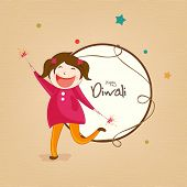 Little cute girl holding fire crackers and stylish text of Diwali for Diwali celebration on a rounded frame.