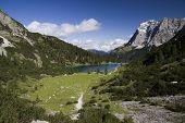 Seebensee lake and Wetterstein massive
