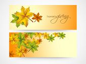 Website header and banner design with autumn leaves  on yellow background for Happy Thanksgiving Day celebrations.