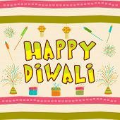 Diwali celebration with stylish text of Diwali and firecrackers.