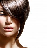 Fashion Haircut. Hairstyle. Stylish Fringe. Short Hair Style.  Beauty woman portrait with fashion trendy hair style