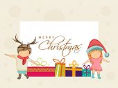 Merry Christmas celebrations greeting card with cute little kids and colourful gift boxes on beige background.