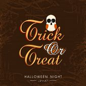 Beautiful poster for Halloween party night with scary owl and stylish text of Trick Or Treat on brown background.