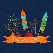Happy Diwali celebration with exploding crackers and stylish text of Happy Diwali on shiny seamless navy blue background.
