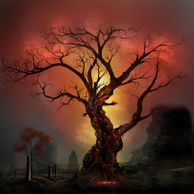 stock photo of scary haunted  - Scary horror tree with zombie and monster demon faces - JPG