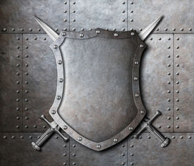 picture of ironclad  - metal shield and two crossed swords over armor plates background - JPG