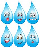 Illustration of water drop with facial expressions