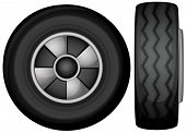 Illustration of tyres front and side view