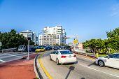 Cars Cross The Draw Bridge In Miami