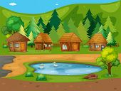 Illustration of many huts by the pond