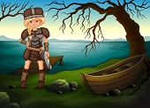 Illustration of a female viking by the lake