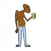 retro comic book style cartoon hooligan with pint of beer