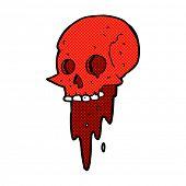 gross halloween skull retro comic book style cartoon