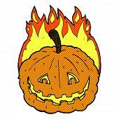 retro comic book style cartoon grinning pumpkin